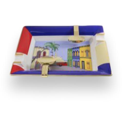 Elie Bleu Casa Cubana Porcelain Ashtray w Gold Bridges (CC12AUTX)