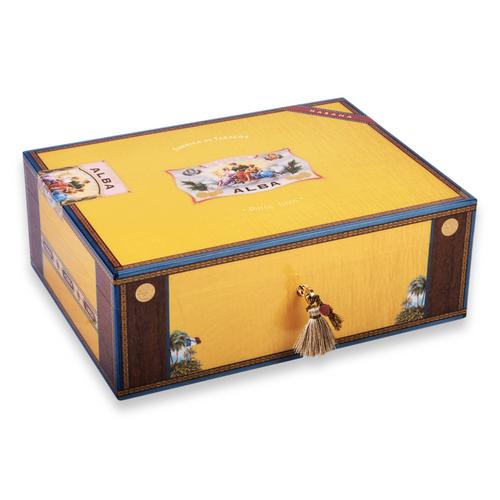 Elie - Bleu - Yellow - Sycamore - 200 - Cigar - Desktop - Humidor - Flor - de - Alba - Collection - Exterior