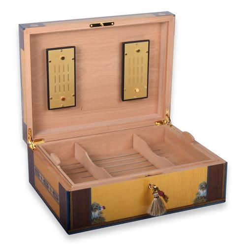 Elie - Bleu - Yellow - Sycamore - 200 - Cigar - Desktop - Humidor - Flor - de - Alba - Collection - Interior