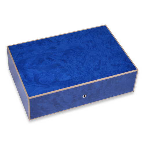 Elie Bleu Blue Madrona Burl 75-110 Cigar Humidor - Classic Collection