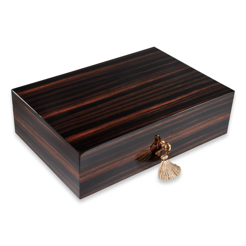 Elie Bleu Macassar Ebony 50-300 Cigar Humidor - Classic Collection - Exterior