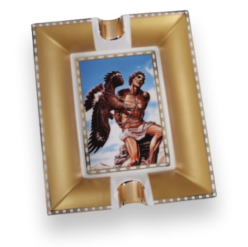 Prometheus God of Fire Blue-Gold Bone China Ashtray