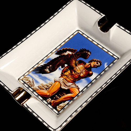 Prometheus God of Fire Blue-White Bone China Ashtray