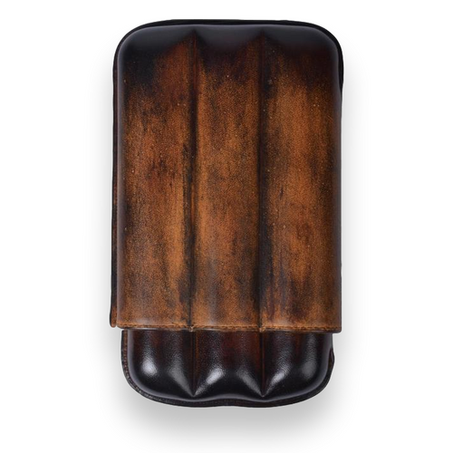 Elie - Bleu - Brown - Havana - Patina - 3 - Cigar - Leather - Case - Up - to - 56 - Ring - Gauge - Exterior