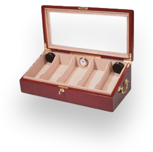 Quality Importers Glasstop Wooden 100 Cigar Humidor Display