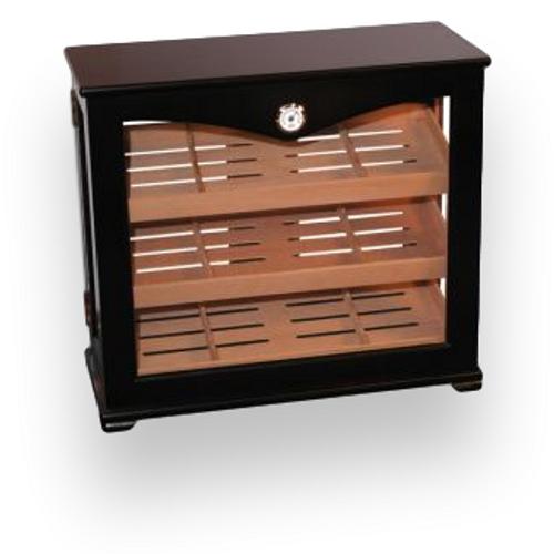 Quality Importers Mahogany 100 Cigar Humidor Cabinet Display