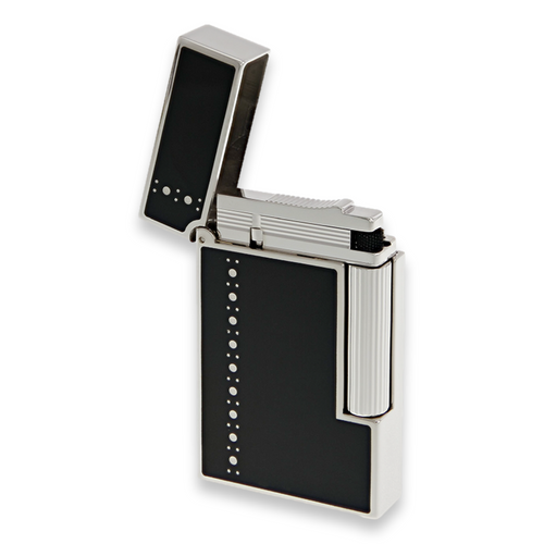 S.T. Dupont Ligne 2 Cigar Lighter - Lacquer Series - Derby Palladium - Exterior Front Open