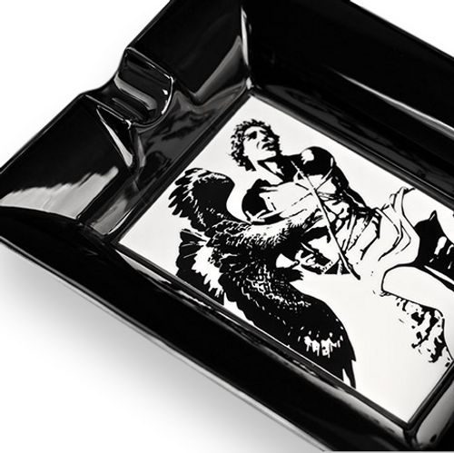 Prometheus God of Fire Black and White Bone China Ashtray