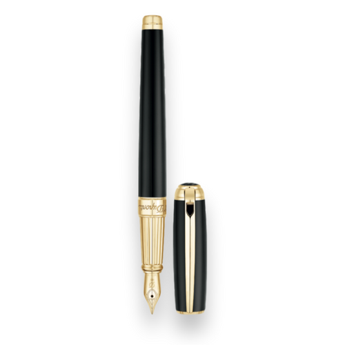 S.T. Dupont Black Natural Lacquer Fountain Pen - New Line D Large