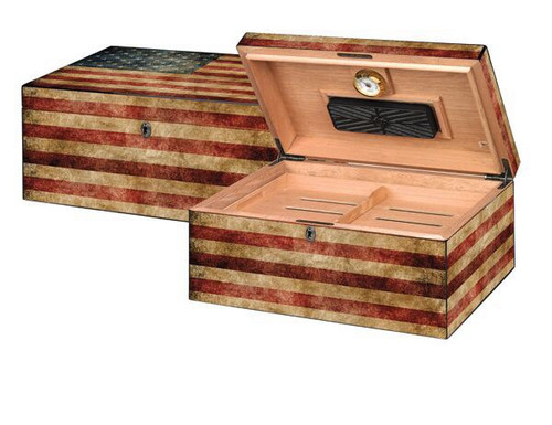Old Glory Desktop Humidor with hygrometer and humidifier