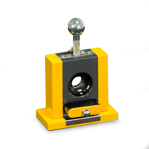Bey-Berk Carbon Fiber and Yellow Table Top Guillotine Cigar Cutter (C127)