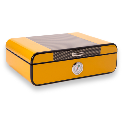 Bey-Berk Carbon Fiber and Yellow 25 Cigar Humidor (C417)
