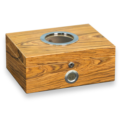 Bey-Berk Olive Wood 100 Cigar Humidor with Glass Port Hole (C424)