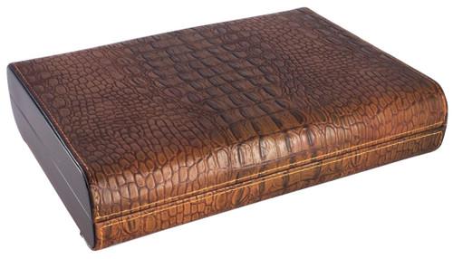 Visol Sobek Brown Leather Desktop 10-Cigar Humidor - Exterior
