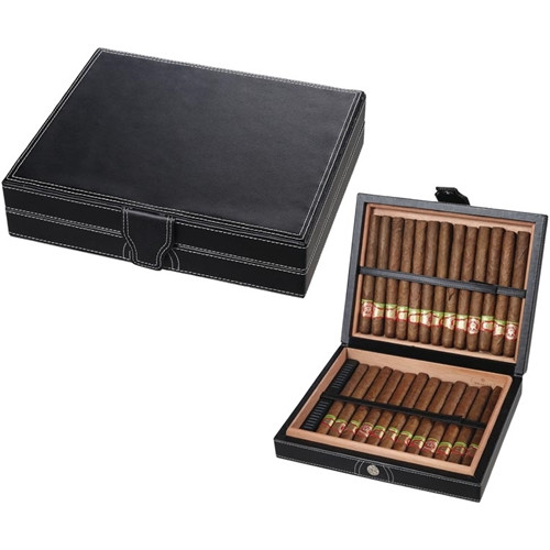 Black Leather Travel Humidor - 25 Cigars