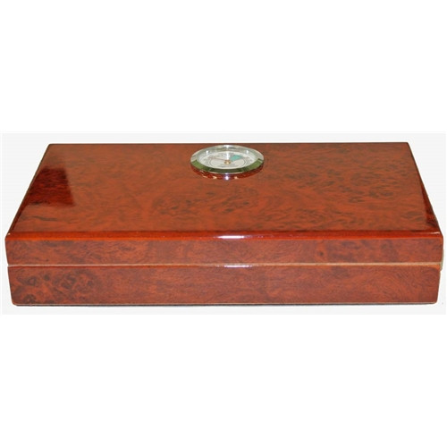 Polished Burl Travel Humidor - 4 Cigars