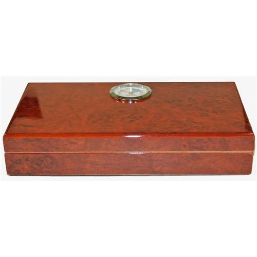 Polished Burl Travel Humidor - 4 Cigars