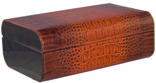 Brown Crocodile Leather Desktop Humidor - 25 Cigars