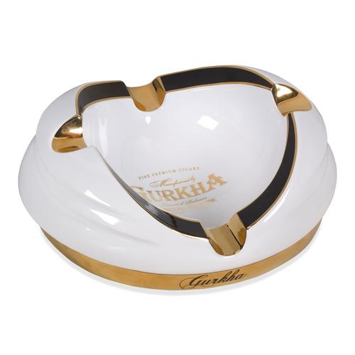 Gurkha Ceramic 4-Cigar Ashtray - White