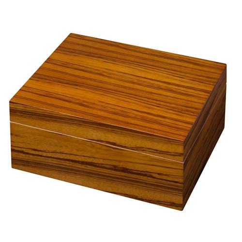 Zebra Wood Veneer Desktop Humidor - 50 Cigars