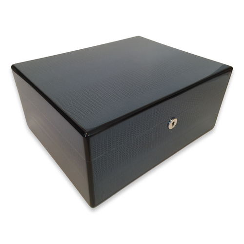 Diamond Crown Cielo 75-Cigar Desktop Humidor - Havana Collection (DC-HUM-CIELO-75) Exterior 2 Side 1