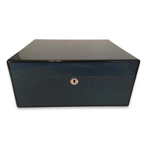 Diamond Crown Cielo 75-Cigar Desktop Humidor - Havana Collection (DC-HUM-CIELO-75) Exterior 3 Key Hole