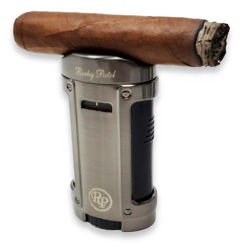 Rocky Patel Odyssey Lighter Series Exterior with cigar