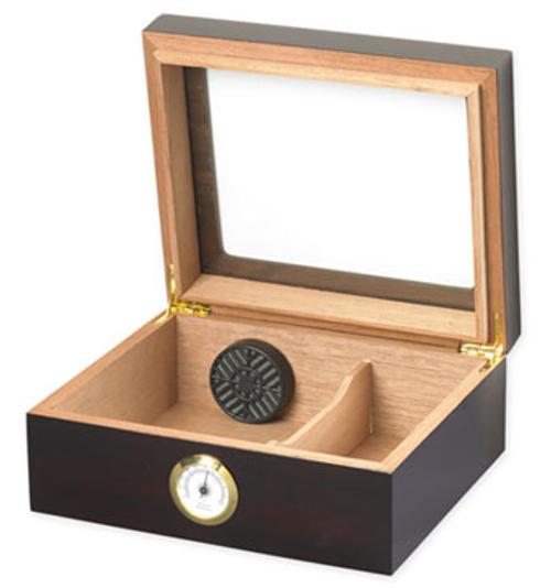 Capri Mahogany Glasstop Desktop Humidor - 50 Cigars