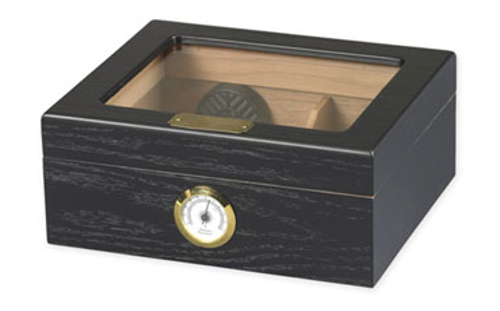 Capri Black Oak Glasstop Desktop Humidor - 50 Cigars