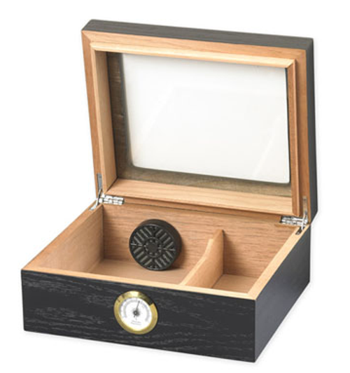 Capri Black Oak Glasstop Desktop Humidor - 50 Cigars