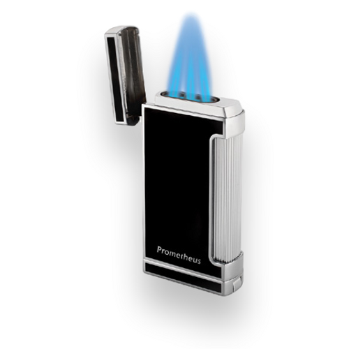 Prometheus Ultimo X Torch Flame Triple Jet Cigar Lighters Black Lacquer Exterior with Flame
