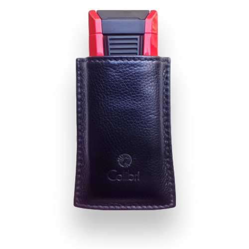 Colibri Leather Case For Lighter Or Cutter - Large (CR-CTC-CRRY-L-BK) Exterior with Lighter Front