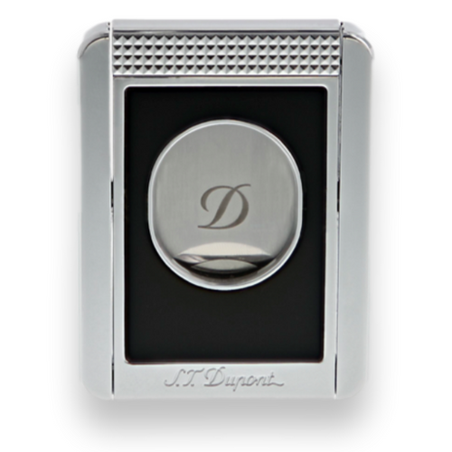 S.T. Dupont Black Chrome Guillotine Double-Blade Cigar Cutter with Cigar Stand - Exterior Front