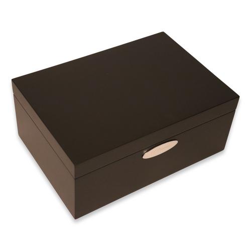 S.T. Dupont Mahogany Matte Black 50-Cigar Desktop Humidor - Exterior Side