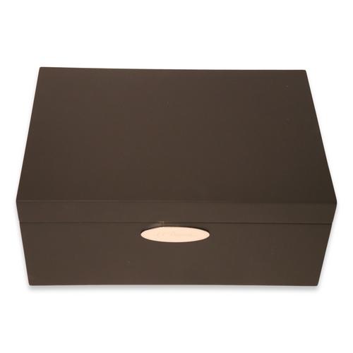 S.T. Dupont Mahogany Matte Black 50-Cigar Desktop Humidor - Exterior Front