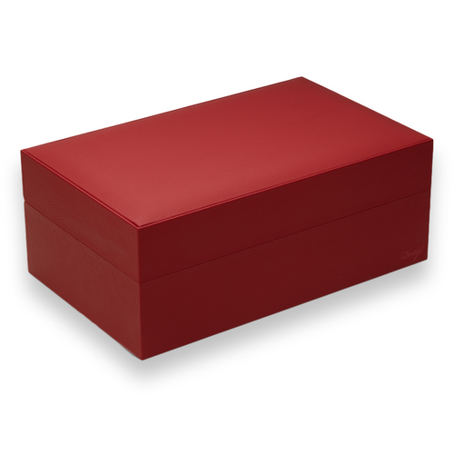 Davidoff Ambassador 80-Cigar Desktop Humidor - Leather Collection - Red - Exterior Side