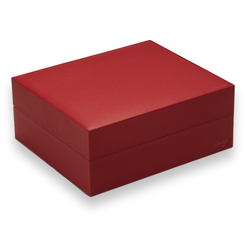 Davidoff Red Primos 35-Cigar Desktop Humidors - Exterior Side - Red Cowhide Leather