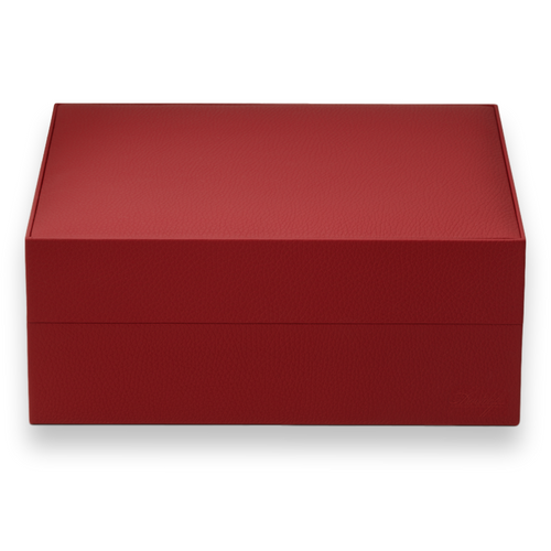Davidoff Red Primos 35-Cigar Desktop Humidors - Exterior Front - Red Cowhide Leather