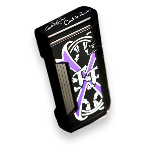 Prometheus Magma X Flat Torch Flame Cigar Lighter - 2019 Limited Edition Fuente Fuente OpusX Purple Rain - Black Lacquer - Exterior Side