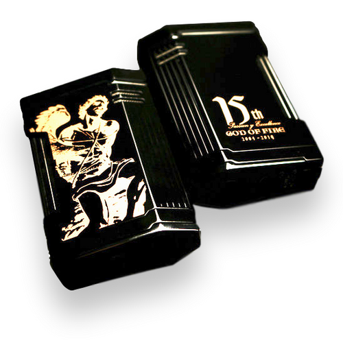 Prometheus Magma T Torch Flame Triple Jet Cigar Lighter - 2019 Limited Edition God Of Fire 15th Anniversary - Black Lacquer and Rose Gold - Exterior - Front - Back