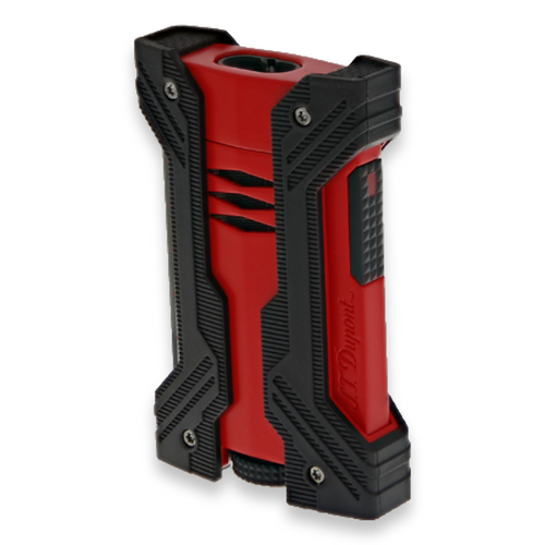 S.T. Dupont Defi XXtreme Torch Flame Double Jet Cigar Lighter - Matte Black and Red - Exterior Front