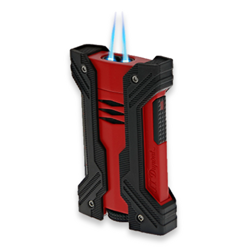 S.T. Dupont Defi XXtreme Torch Flame Double Jet Cigar Lighter - Matte Black and Red - Exterior Front with Flame