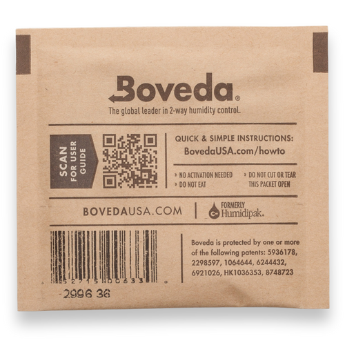 Boveda 58% Humidity Packs - 300-Count Casepack, Small 8g  - Exterior Back Side