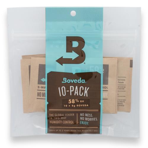Boveda 58% Luftfeuchtigkeitspakete - 10 Stück, klein 8 g - Verpackung - außen - vorne