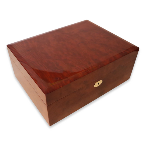 Daniel Marshall 20165 Limited Edition 125-Cigar Humidor w Tray - Dark Burl Wood - Exterior view