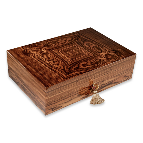 Elie Bleu Bocote 110-Cigar Desktop Humidor - Classic Collection - Exterior Front