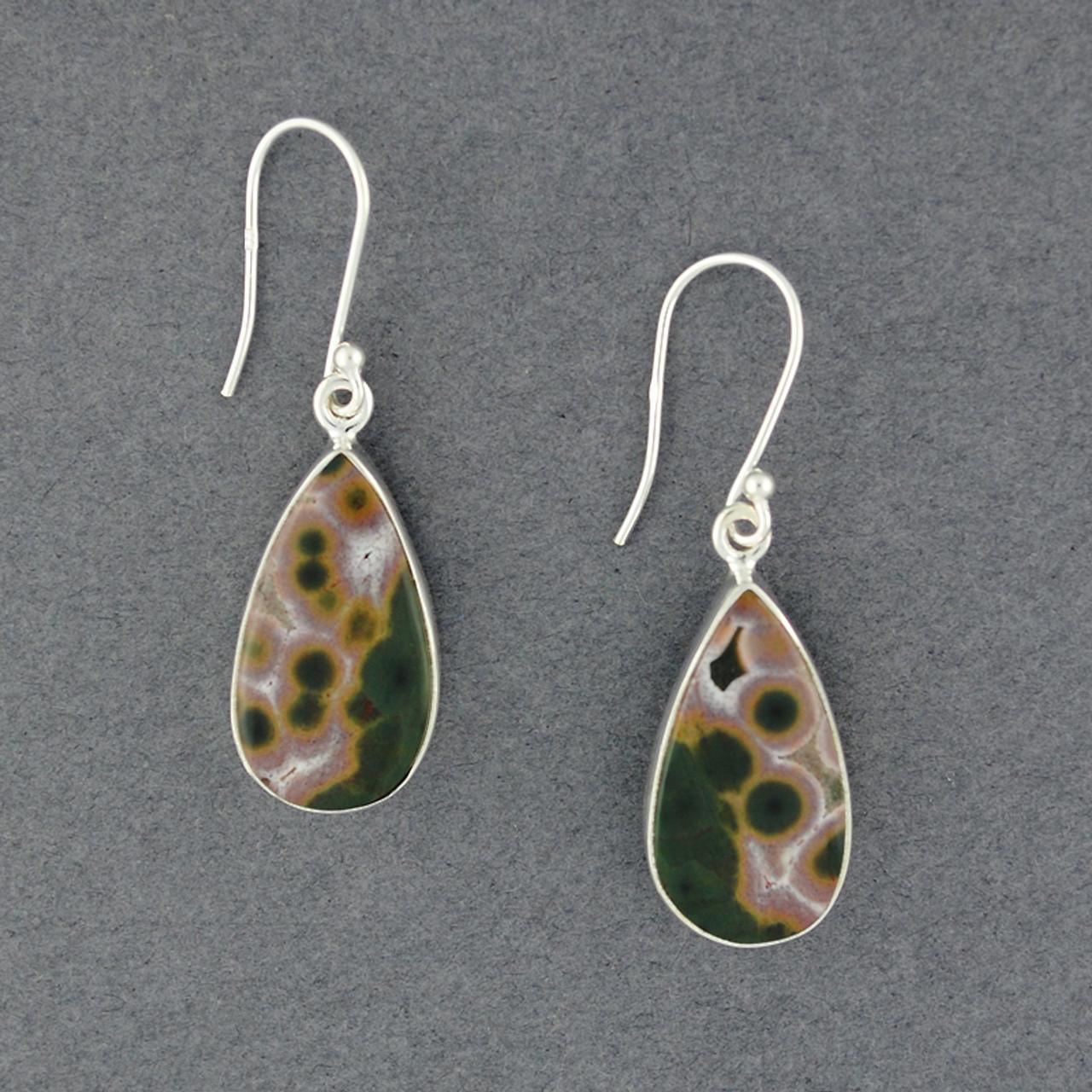 Ocean Jasper /& Sterling Silver Shield Earrings