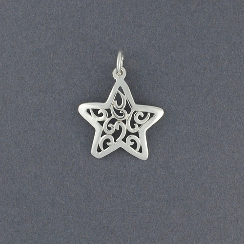 Sterling Silver Small Swirly Star Pendant