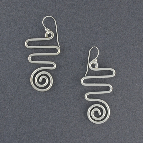 Sterling Silver Squiggle and Swirl Earrings