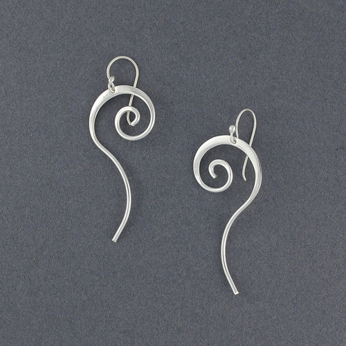 Sterling Silver Spiral with Tail Earrings